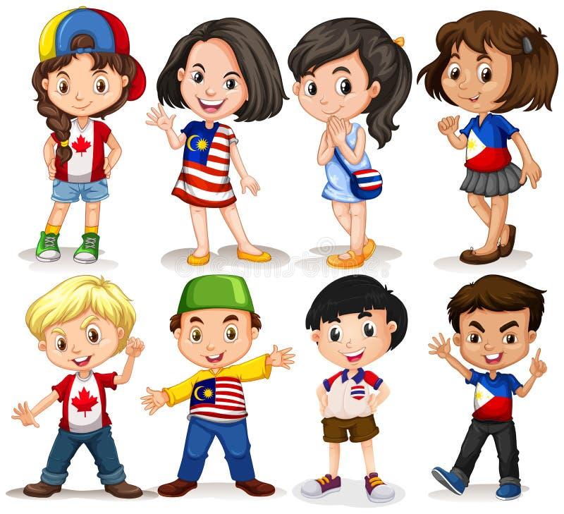 Αγόρια και κορίτσια από τις διαφορετικές χώρες ελεύθερη απεικόνιση δικαιώματος
