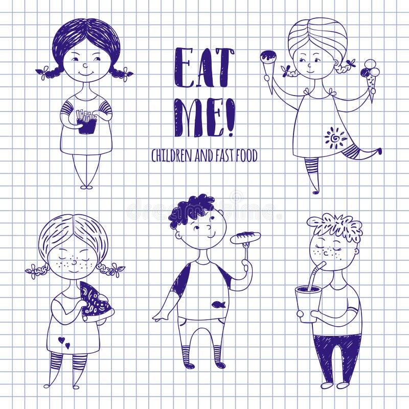 Αγόρια και κορίτσια με τα τρόφιμα σε χαρτί σημειωματάριων απεικόνιση αποθεμάτων