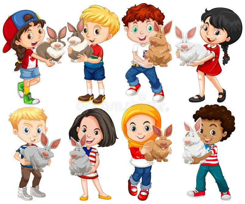 Αγόρια και κορίτσια με το κατοικίδιο ζώο κουνελιών ελεύθερη απεικόνιση δικαιώματος