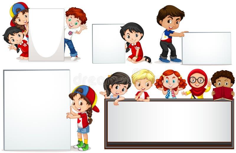 Αγόρια και κορίτσια με το whiteboard απεικόνιση αποθεμάτων