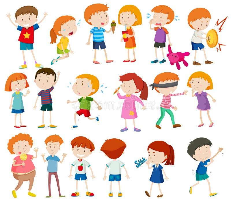 Αγόρια και κορίτσια που κάνουν τις διαφορετικές δραστηριότητες διανυσματική απεικόνιση