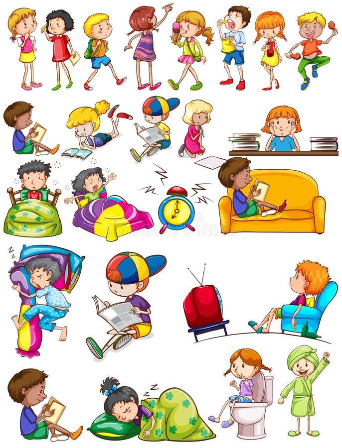 Αγόρια και κορίτσια που κάνουν τις δραστηριότητες ελεύθερη απεικόνιση δικαιώματος