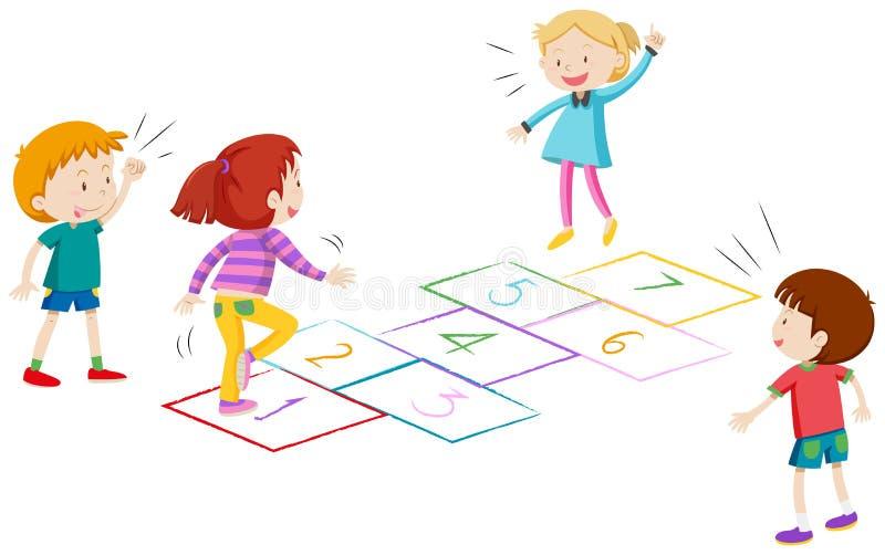 Αγόρια και κορίτσια που παίζουν hopscotch ελεύθερη απεικόνιση δικαιώματος