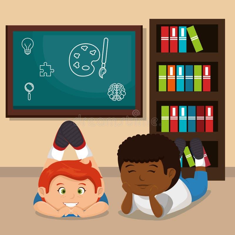 Αγόρια λίγων σχολείων με τις προμήθειες εκπαίδευσης ελεύθερη απεικόνιση δικαιώματος