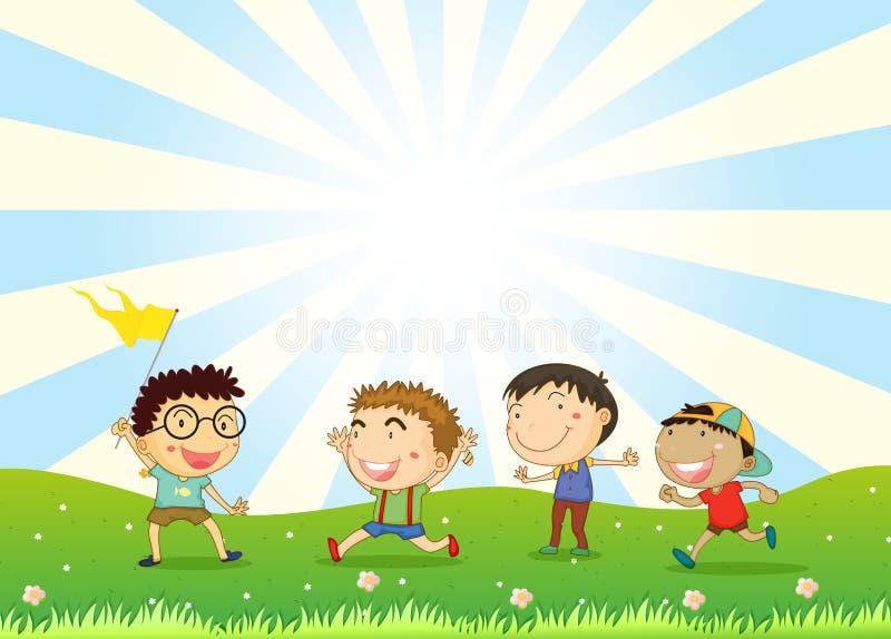Αγόρια που παίζουν στο λόφο διανυσματική απεικόνιση