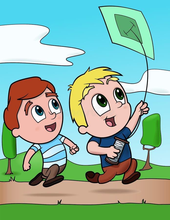 αγόρια που πετούν τον ικτί&n διανυσματική απεικόνιση