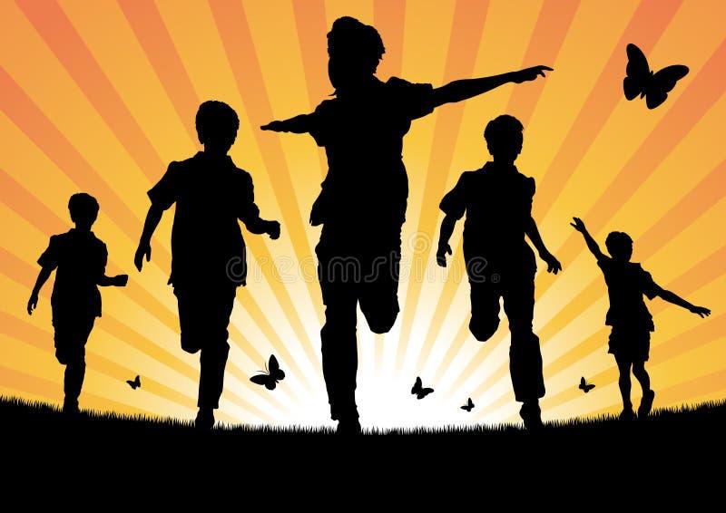 Αγόρια που τρέχουν στον ήλιο απεικόνιση αποθεμάτων