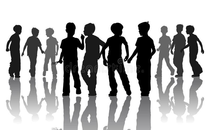 αγόρια silhuets απεικόνιση αποθεμάτων