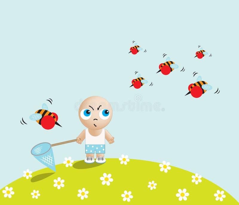 Αγόρι ενάντια στις μέλισσες απεικόνιση αποθεμάτων