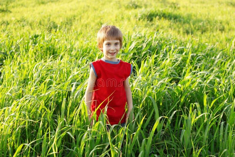 Αγόρι ευτυχές στον πράσινο τομέα σίτου στοκ φωτογραφίες με δικαίωμα ελεύθερης χρήσης