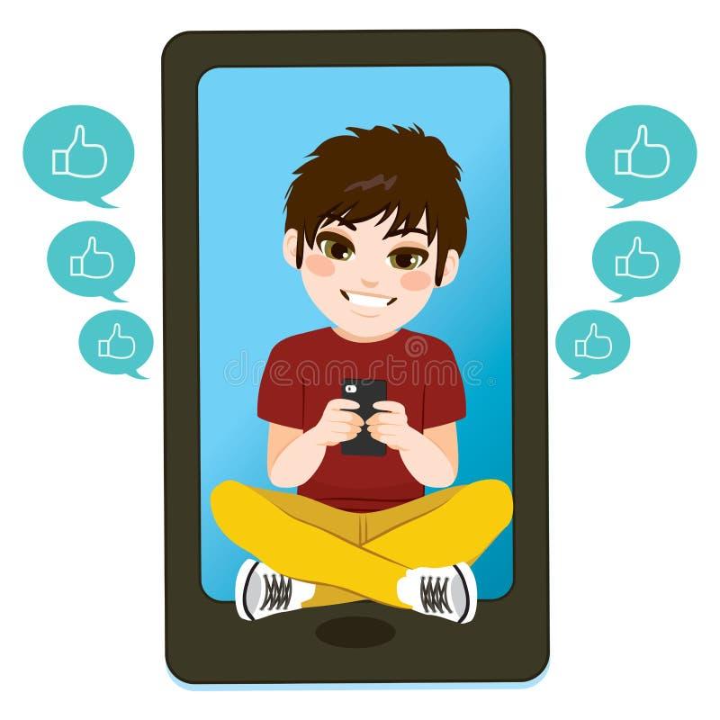 Αγόρι εφήβων Smartphone διανυσματική απεικόνιση