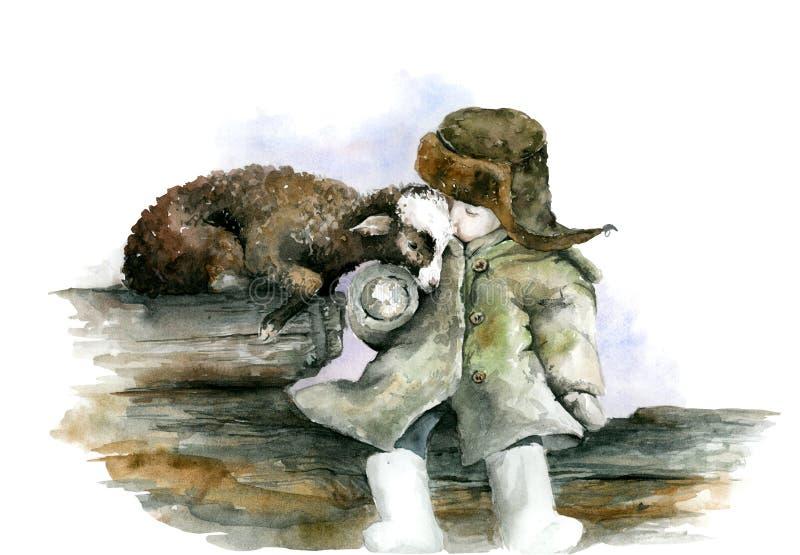 Αγόρι και αρνί διανυσματική απεικόνιση