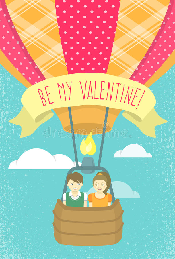 Αγόρι και κορίτσι ερωτευμένα σε ένα μπαλόνι ζεστού αέρα απεικόνιση αποθεμάτων