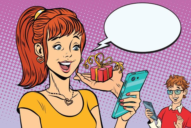 Αγόρι και κορίτσι εφήβων on-line παρόντα μέσω του smartphone διανυσματική απεικόνιση