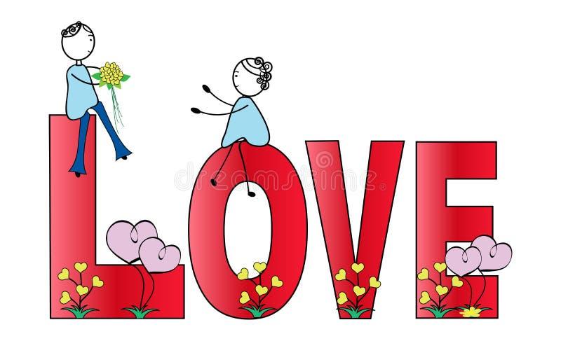 Αγόρι και κορίτσι και η αγάπη λέξης ελεύθερη απεικόνιση δικαιώματος