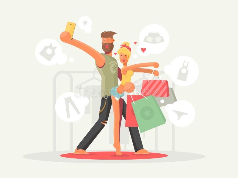 Αγόρι και κορίτσι με τις τσάντες αγορών απεικόνιση αποθεμάτων