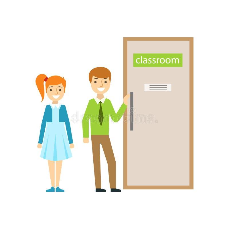 Αγόρι και κορίτσι μπροστά από την πόρτα τάξεων, μέρος του σχολείου και τη σειρά ζωής μελετητών απεικονίσεων Minimalistic απεικόνιση αποθεμάτων