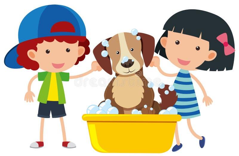 Αγόρι και κορίτσι που δίνουν στο σκυλί ένα λουτρό διανυσματική απεικόνιση