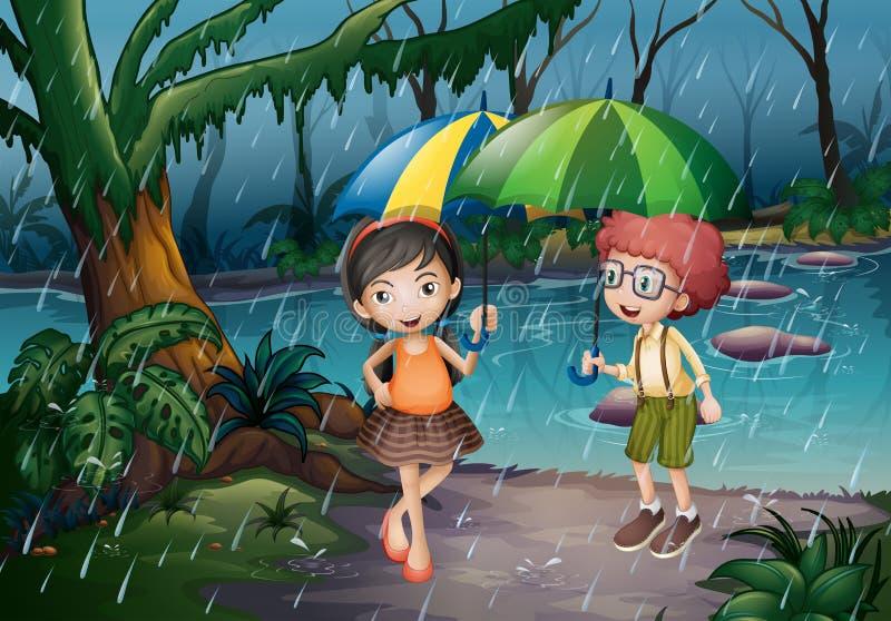 Αγόρι και κορίτσι που είναι στη βροχή διανυσματική απεικόνιση