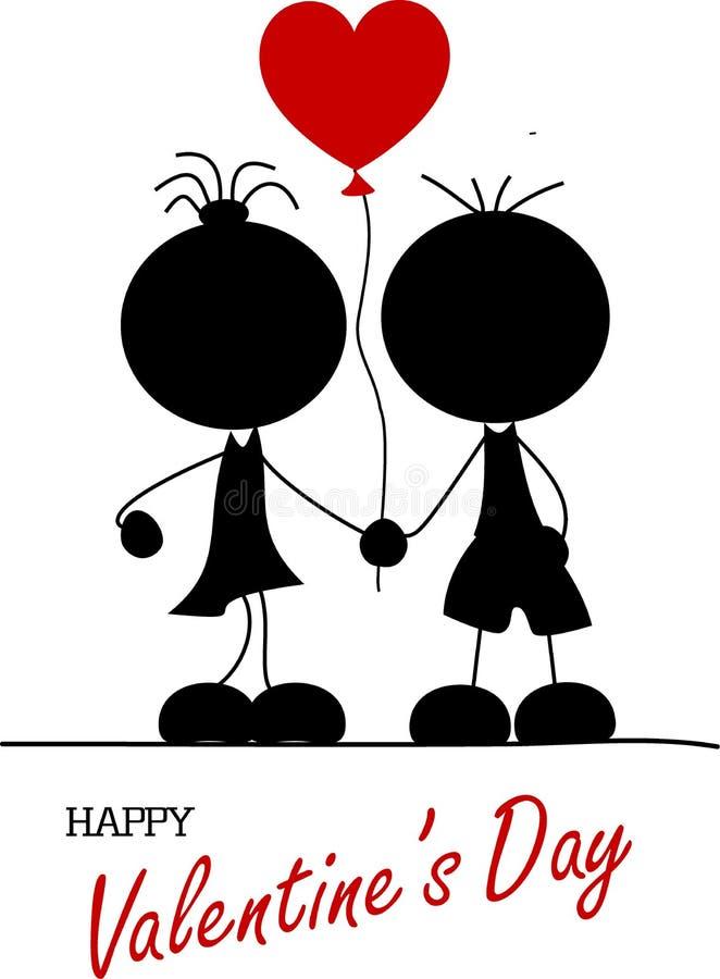 Αγόρι και κορίτσι που κρατούν ballon στα χέρια τους ελεύθερη απεικόνιση δικαιώματος