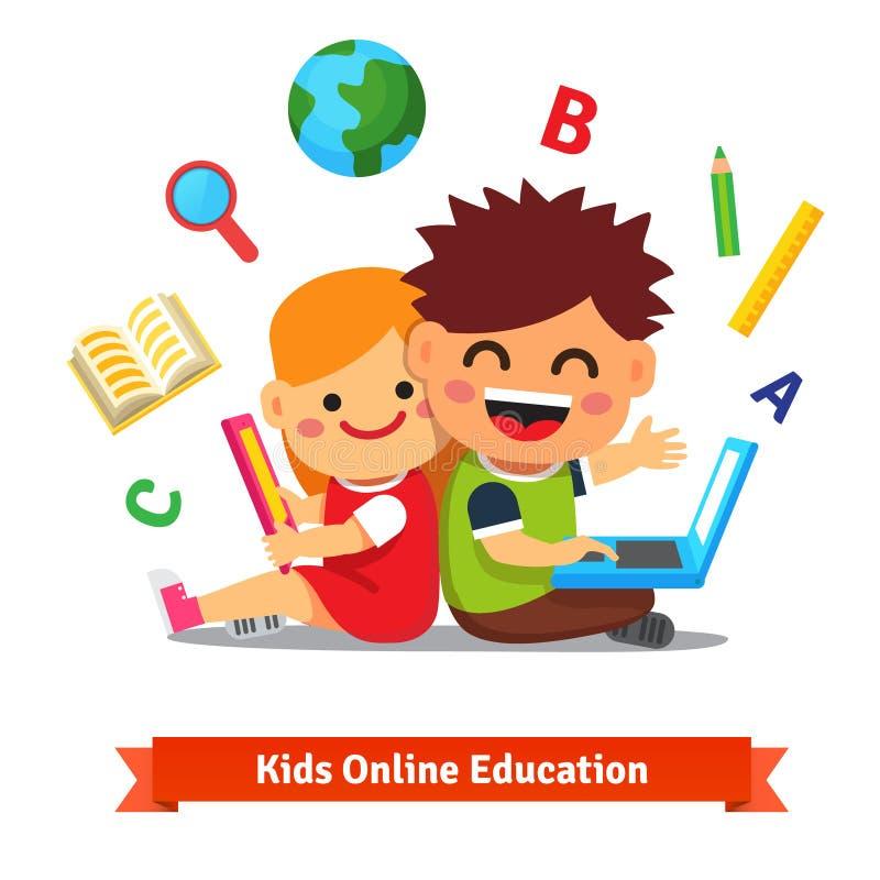 Αγόρι και κορίτσι που μελετούν μαζί με το lap-top απεικόνιση αποθεμάτων