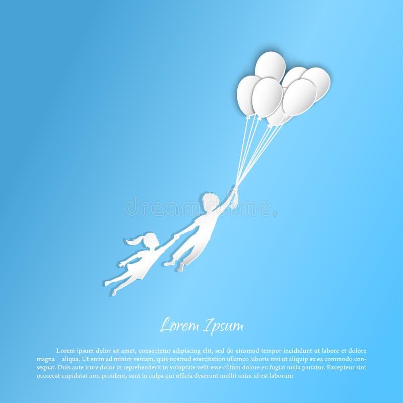 Αγόρι και κορίτσι που πετούν με τα μπαλόνια Αριθμοί από το έγγραφο διανυσματική απεικόνιση