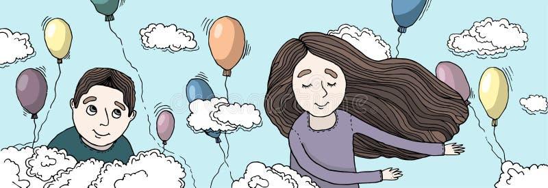 Αγόρι και κορίτσι που πετούν στα σύννεφα ελεύθερη απεικόνιση δικαιώματος