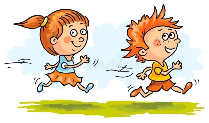 Αγόρι και κορίτσι που τρέχουν γρήγορα απεικόνιση αποθεμάτων