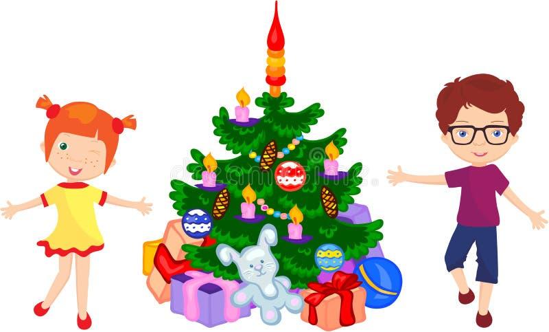Αγόρι και κορίτσι που χορεύουν γύρω από το χριστουγεννιάτικο δέντρο διανυσματική απεικόνιση