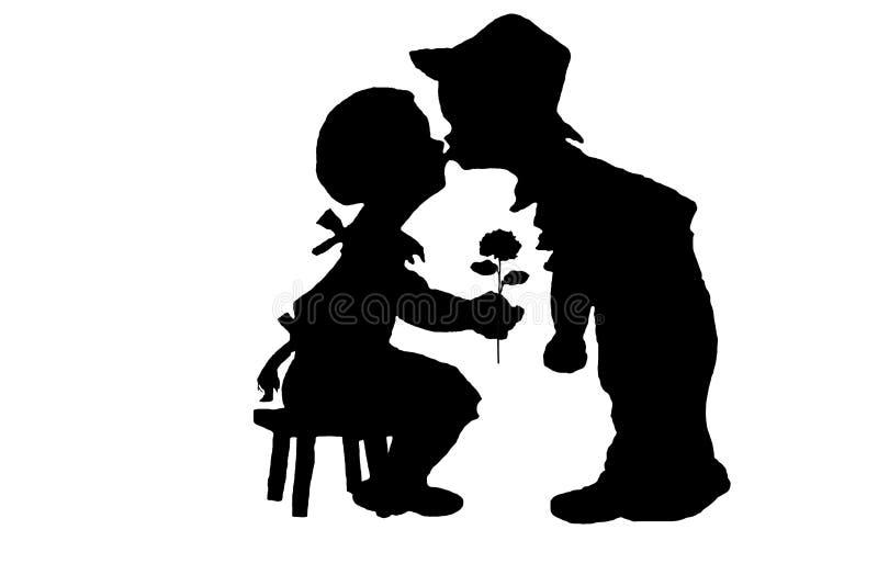 Αγόρι και κορίτσι σκιαγραφιών στοκ εικόνες με δικαίωμα ελεύθερης χρήσης