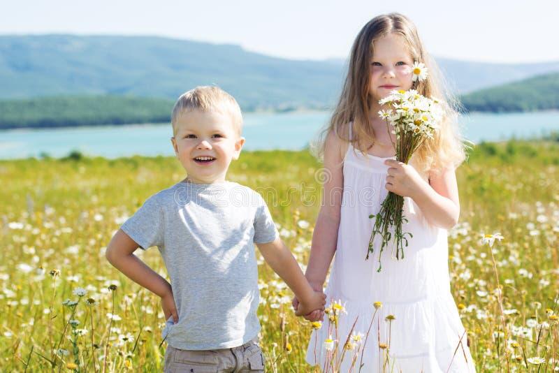 Αγόρι και κορίτσι δύο παιδιών camomile στον τομέα στοκ φωτογραφίες με δικαίωμα ελεύθερης χρήσης