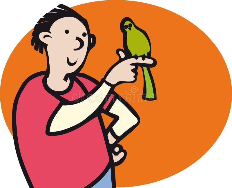 Αγόρι και πουλί απεικόνιση αποθεμάτων