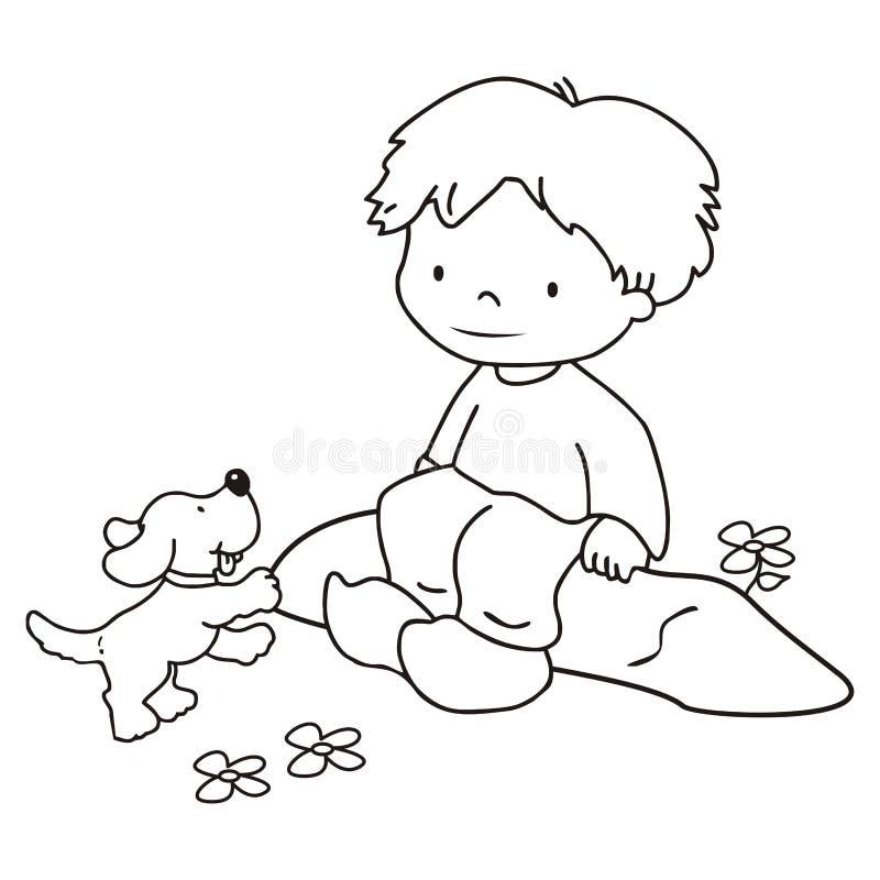 Αγόρι και σκυλί, χρωματισμός ελεύθερη απεικόνιση δικαιώματος