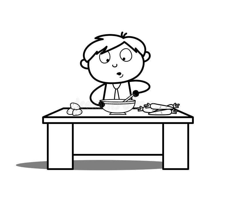 Αγόρι κινούμενων σχεδίων που μαγειρεύει τη διανυσματική απεικόνιση απεικόνιση αποθεμάτων