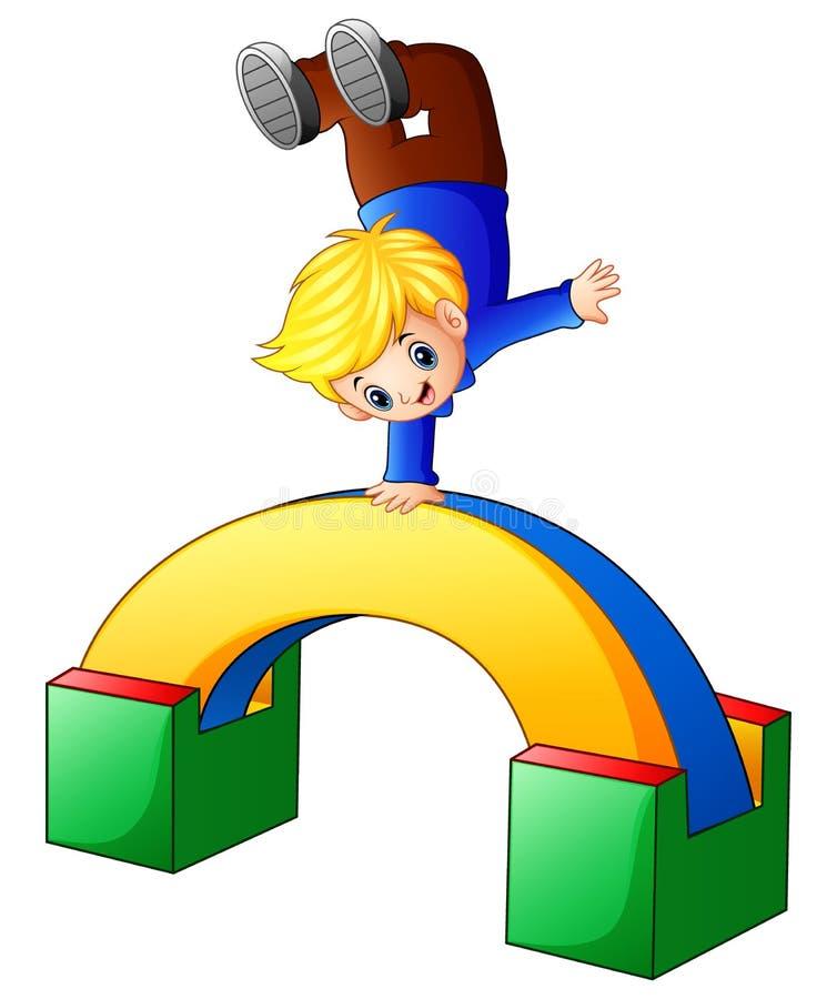 Αγόρι κινούμενων σχεδίων που στέκεται σε ετοιμότητα του διανυσματική απεικόνιση