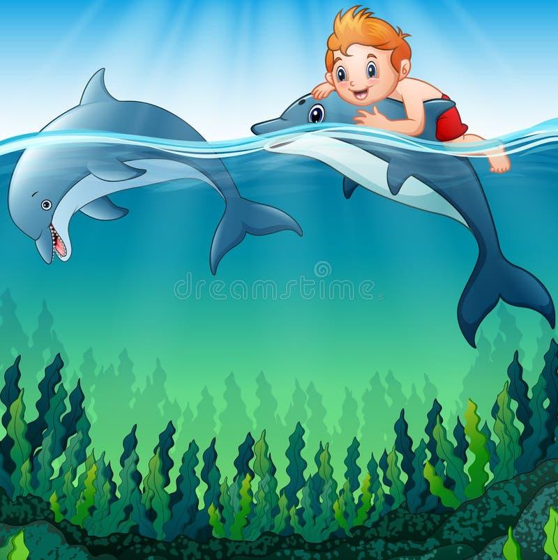 Αγόρι κινούμενων σχεδίων με τα δελφίνια στη θάλασσα ελεύθερη απεικόνιση δικαιώματος