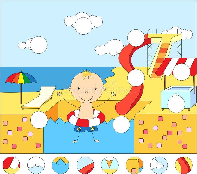 Αγόρι με ένα λαστιχένιο δαχτυλίδι στην πισίνα πάρκων νερού πλήρης ελεύθερη απεικόνιση δικαιώματος
