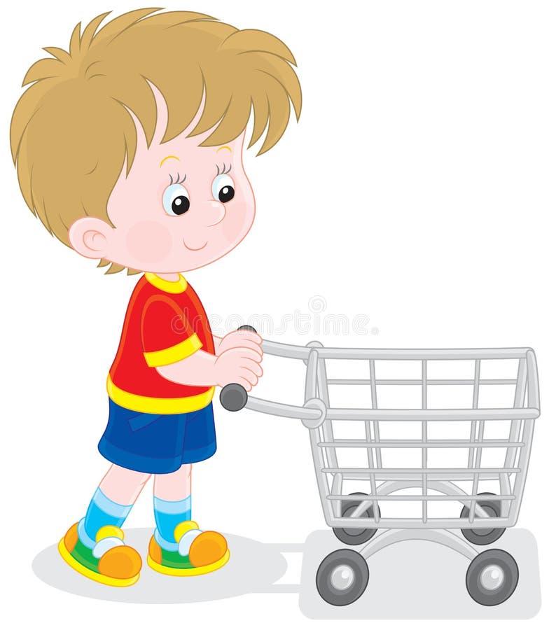 Αγόρι με ένα καροτσάκι αγορών απεικόνιση αποθεμάτων