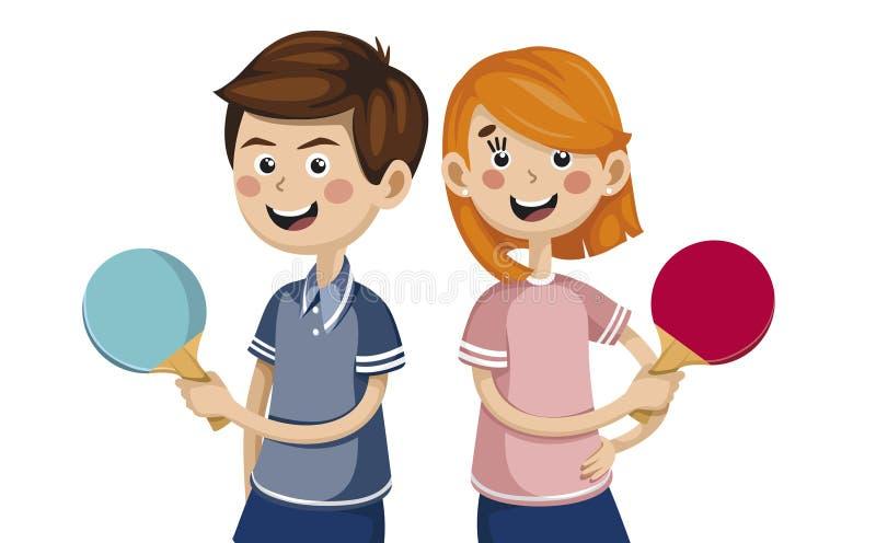 Αγόρι με μια παίζοντας επιτραπέζια αντισφαίριση κοριτσιών αθλητές ανταγωνισμού διανυσματική απεικόνιση