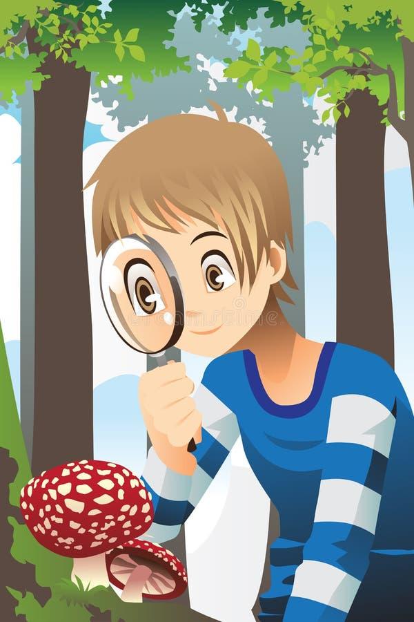 Αγόρι με την ενίσχυση - γυαλί διανυσματική απεικόνιση