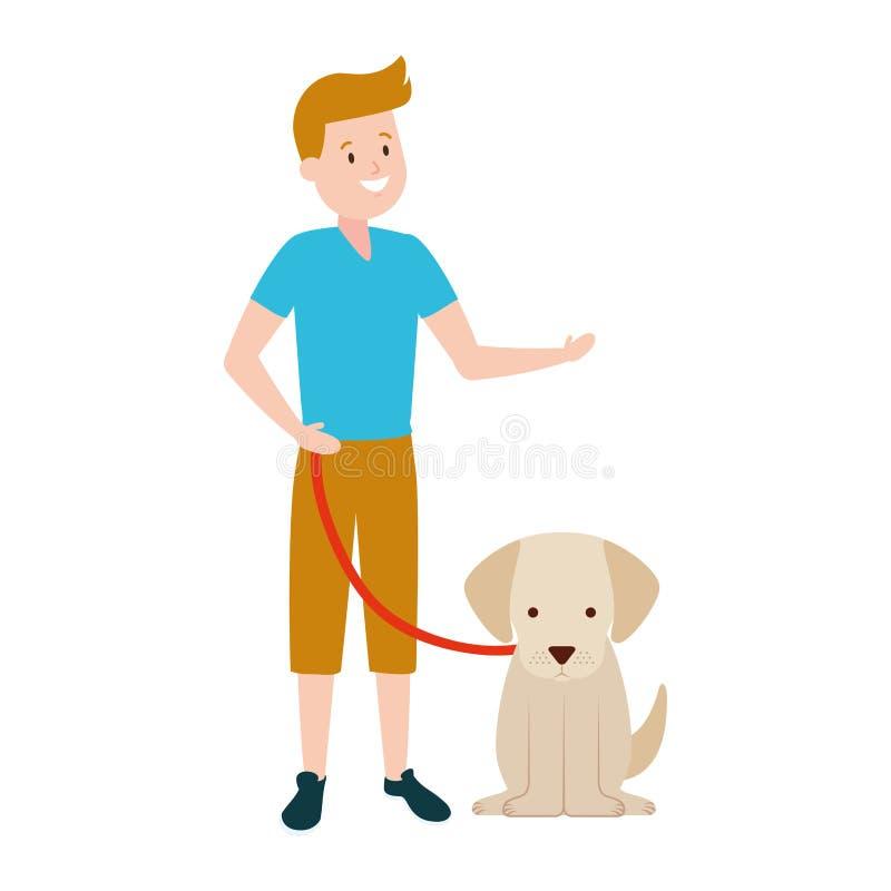 Αγόρι με το σκυλί του ελεύθερη απεικόνιση δικαιώματος