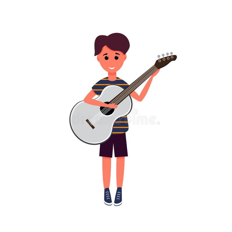 Αγόρι με την κιθάρα, διανυσματική απεικόνιση Κιθάρα παιχνιδιού αγοριών Μαθήματα κιθάρων Μαθητής Cinco de Mayo, διανυσματική απεικ απεικόνιση αποθεμάτων