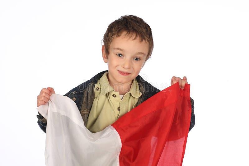 Αγόρι με την πολωνική σημαία στοκ φωτογραφία