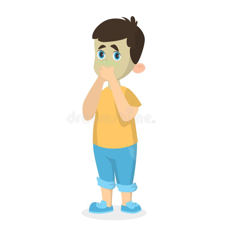 Αγόρι με τη ναυτία απεικόνιση αποθεμάτων