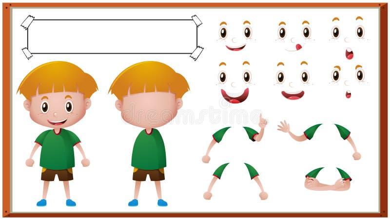 Αγόρι με τις διαφορετικές εκφράσεις του προσώπου απεικόνιση αποθεμάτων
