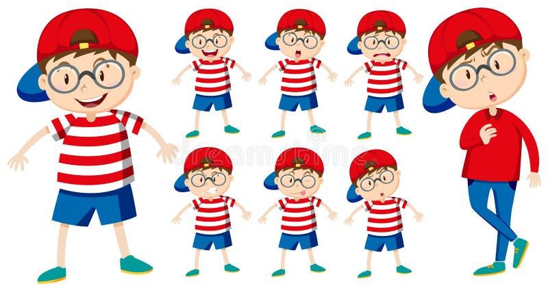Αγόρι με τις διαφορετικές συγκινήσεις διανυσματική απεικόνιση