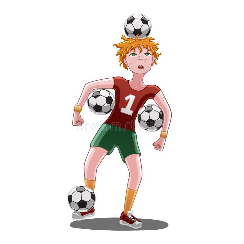 Αγόρι με τις σφαίρες ποδοσφαίρου ελεύθερη απεικόνιση δικαιώματος