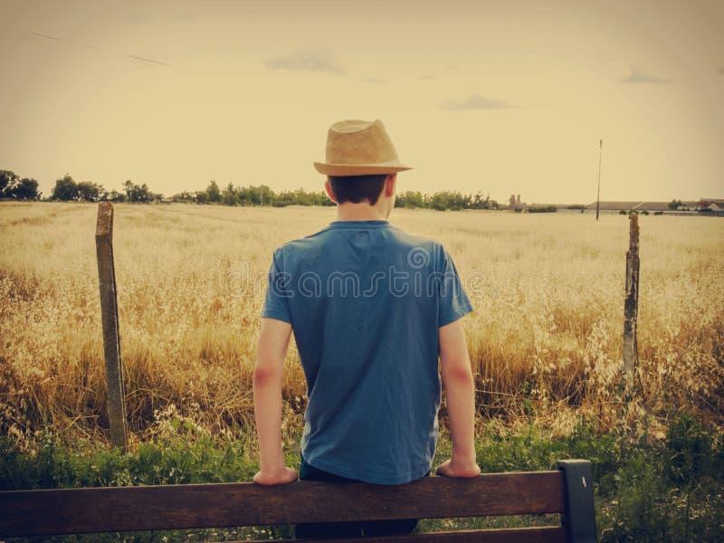 Αγόρι με το καπέλο που εξετάζει έναν τομέα του κίτρινου αχύρου στοκ εικόνες