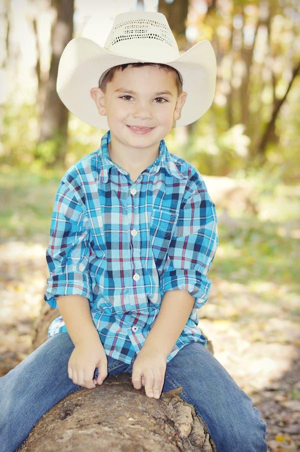 Αγόρι με το καπέλο κάουμποϋ στον κορμό δέντρων στοκ εικόνες