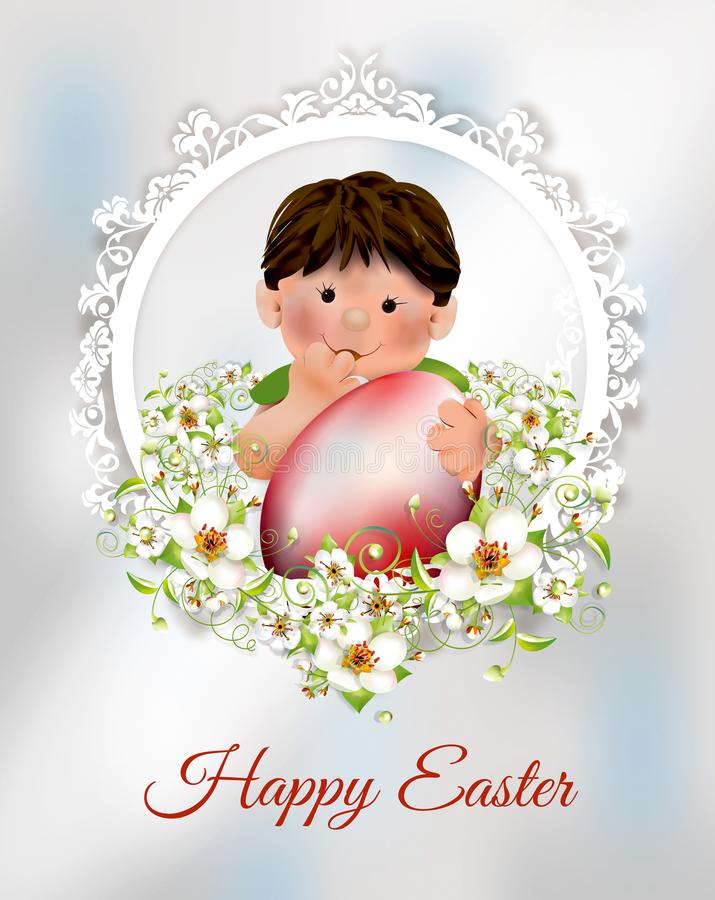 Αγόρι με το κόκκινο αυγό Πάσχας, λουλούδια πλαισίων και άνοιξη ελεύθερη απεικόνιση δικαιώματος